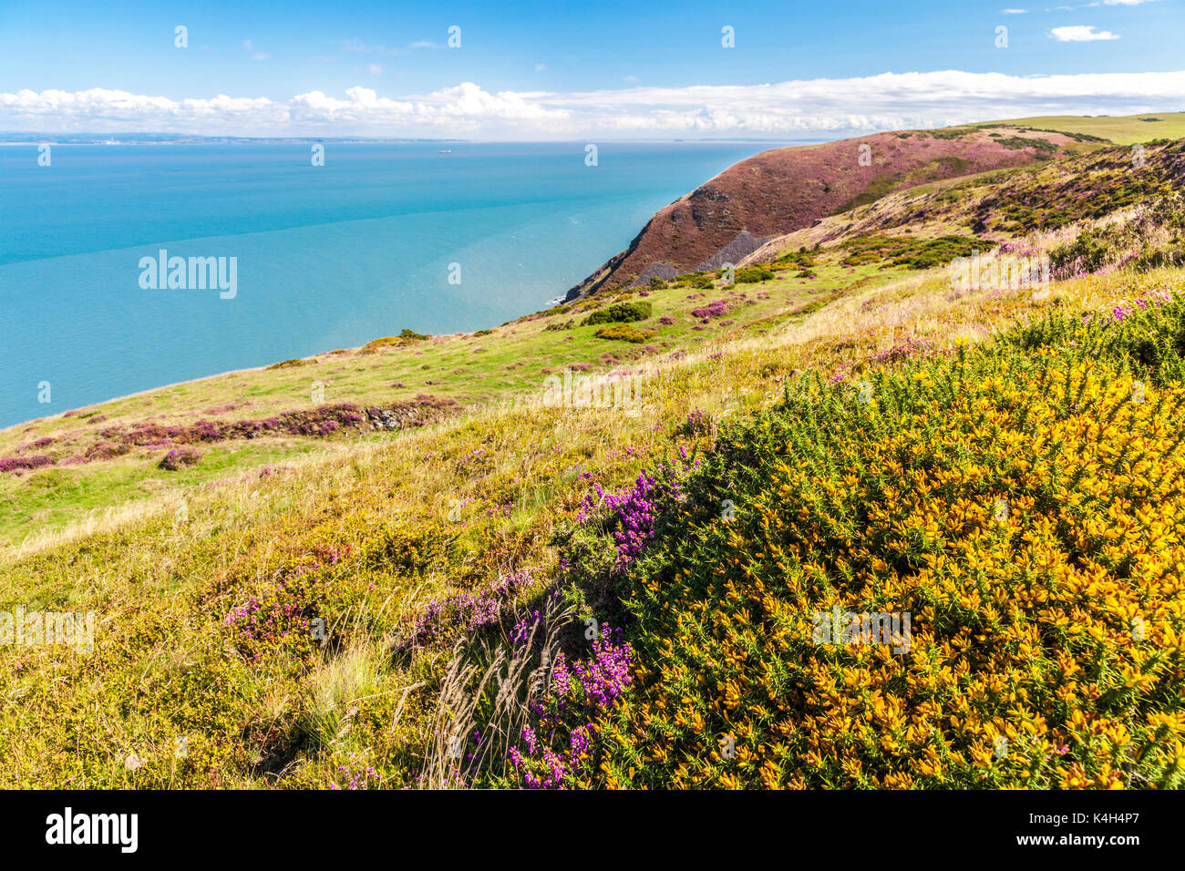 The view over the Bristol Channel from the Southwest Coast Path in the Exmoor National Park,Somerset. - Stock Image