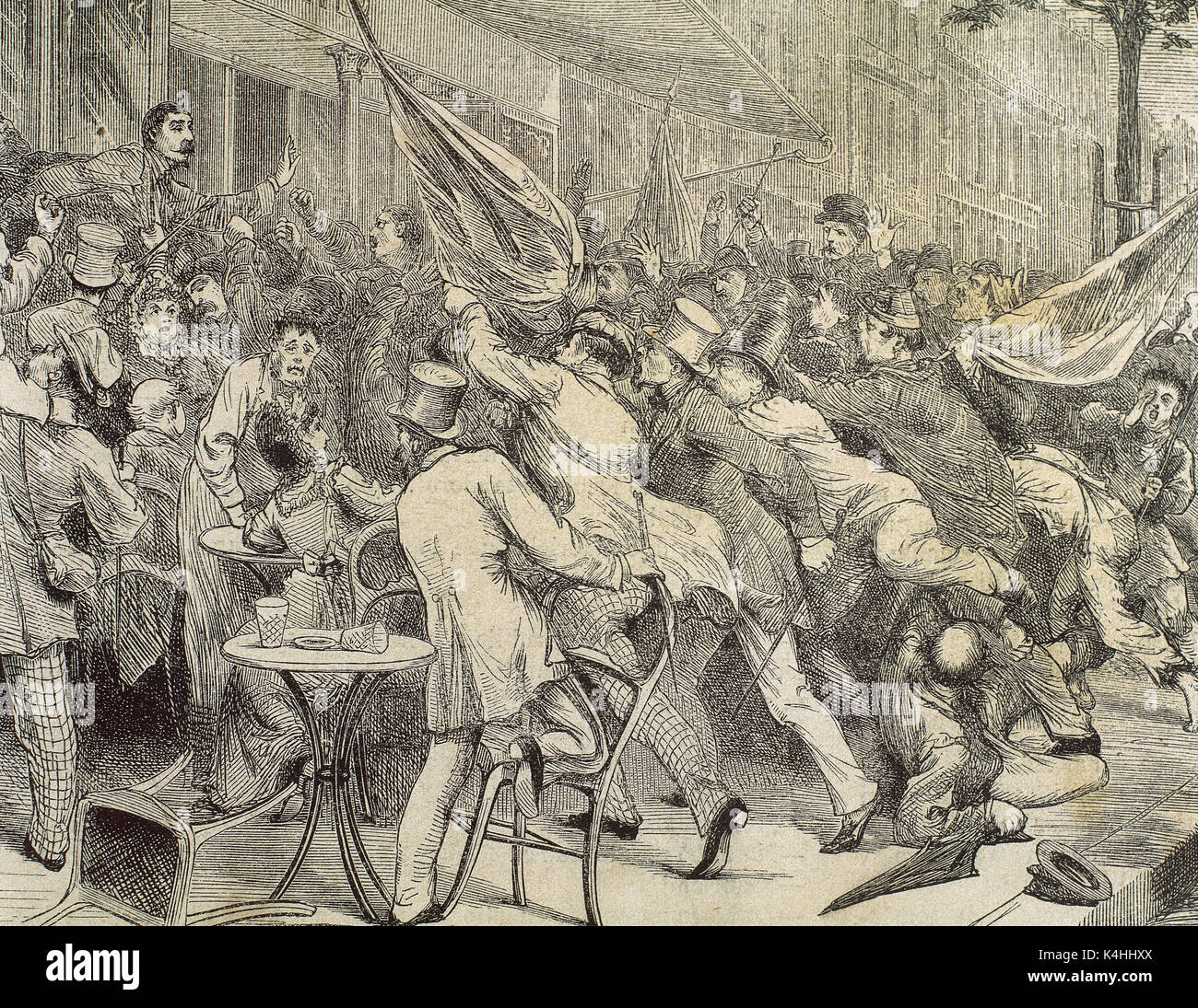 Franco-Prussian War (1870-1871). Paris. Boulevard Montmartre. Reaction of the people when it knows the defeat of the French in Forbach. Engraving of 'The Spanish and American Illustration', 1870. - Stock Image