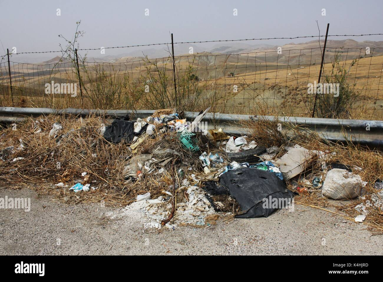 Garbage piled up in a layby near Caltanissetta on the Italian island of Sicily - Stock Image