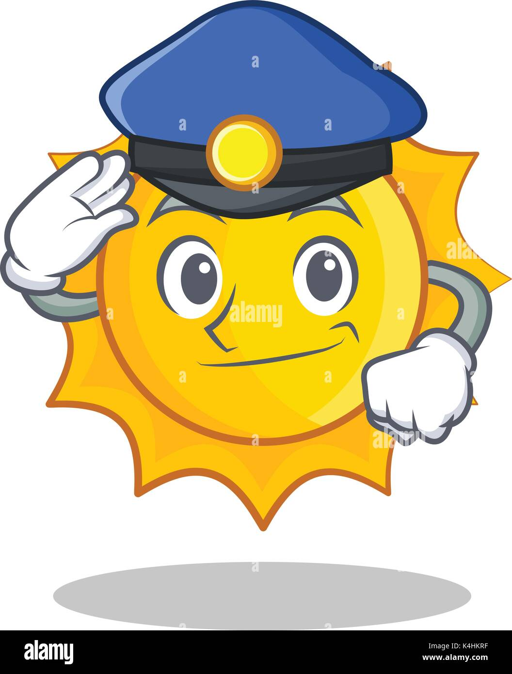 Police cute sun character cartoon - Stock Vector