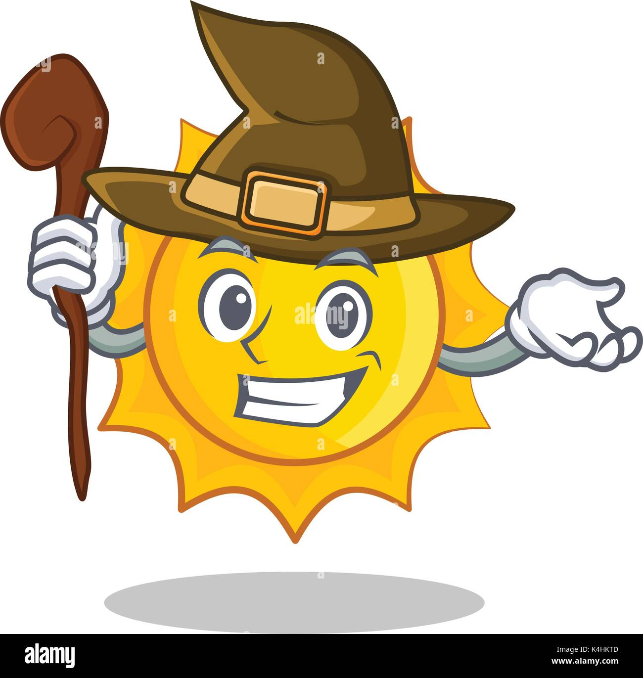 Witch cute sun character cartoon - Stock Vector