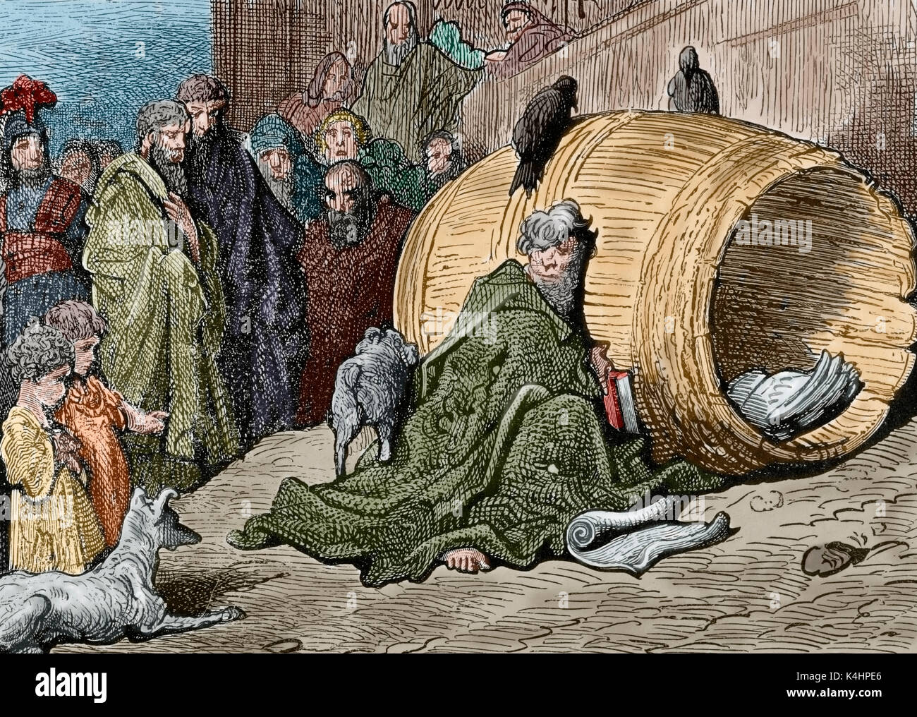 Diogenes (412-323 B.C.). Greek philosopher. One of the founders of Cynic philosophy. Also known as Diogenes the Cynic. Diogenes shelters in his barrel. Engraving by Gustave Dore. Colored. - Stock Image