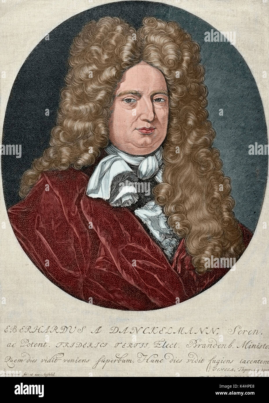 Eberhard von Danckelmann (1643-1722). German official who served as Prime Minister of Brandenburg-Prussia from 1692 to 1697. Portrait. Engraving by P. Schenck. 'Historia Universal', 1885. Colored. - Stock Image