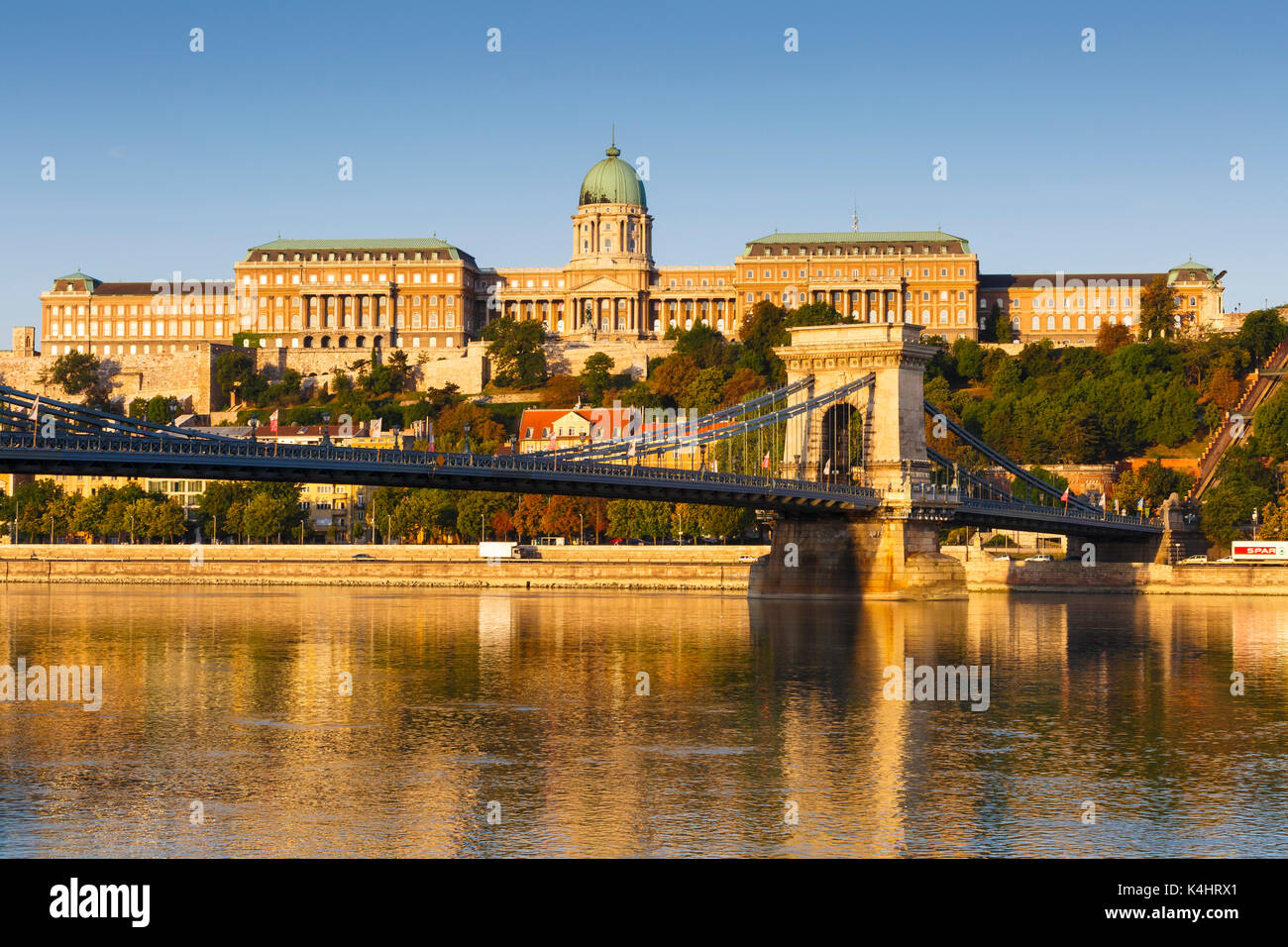 Morning view of city centre of Budapest over the river Danube, Hungary. - Stock Image