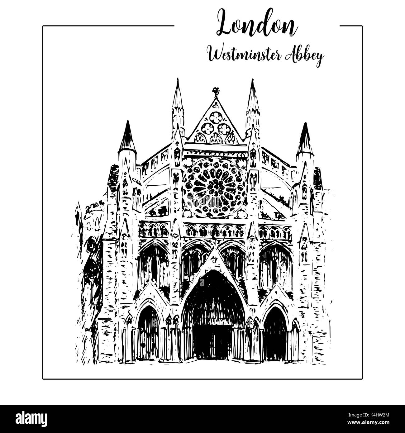 Westminster abbey, London architectural symbol. Beautiful hand drawn vector sketch illustration - Stock Image