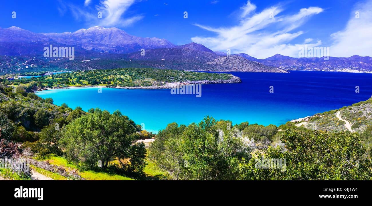 Panoramic view of Istron Bay,Crete island,Greece. Stock Photo