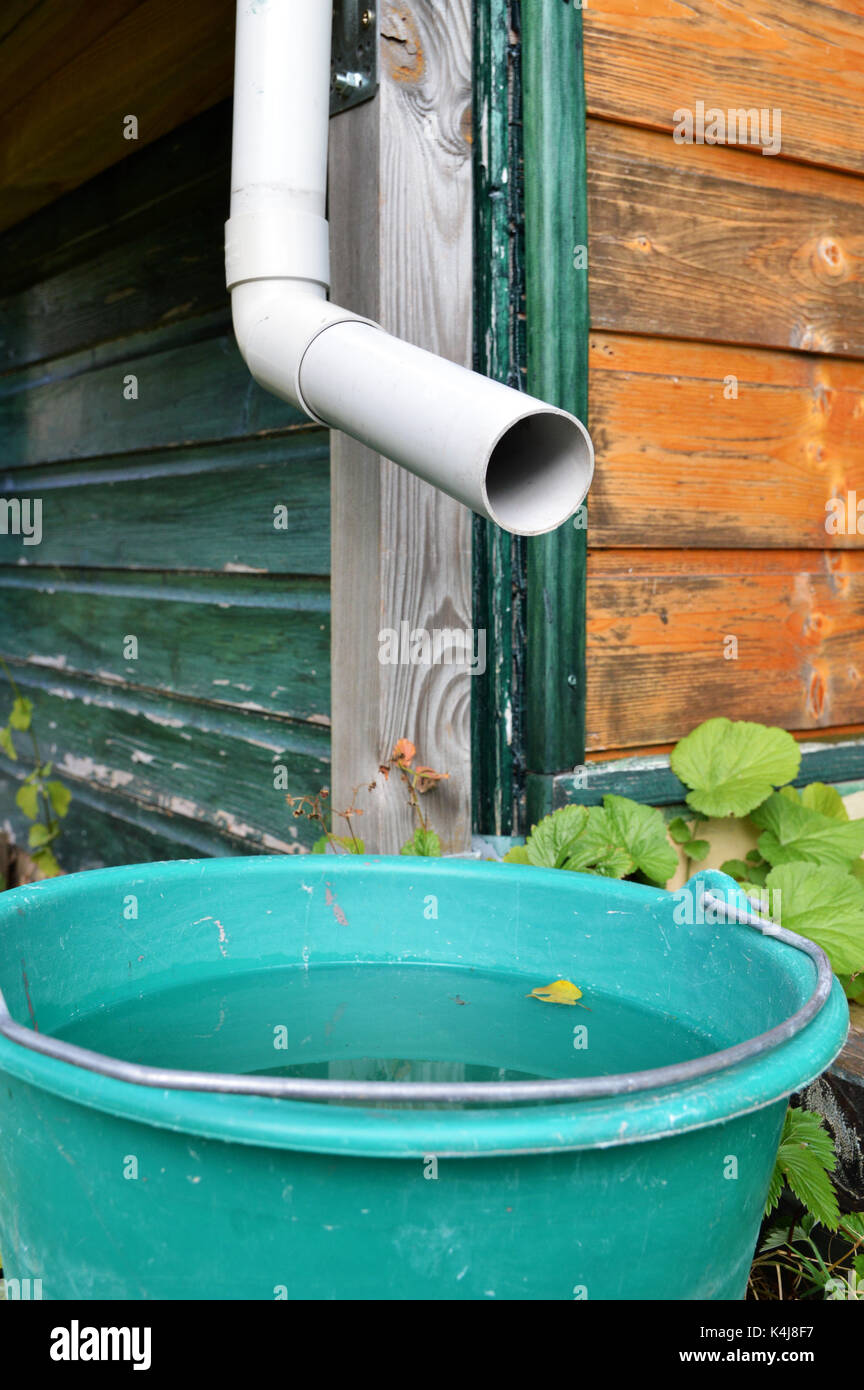 A small rainwater harvesting system. Ecological and economic system with a gutter - Stock Image