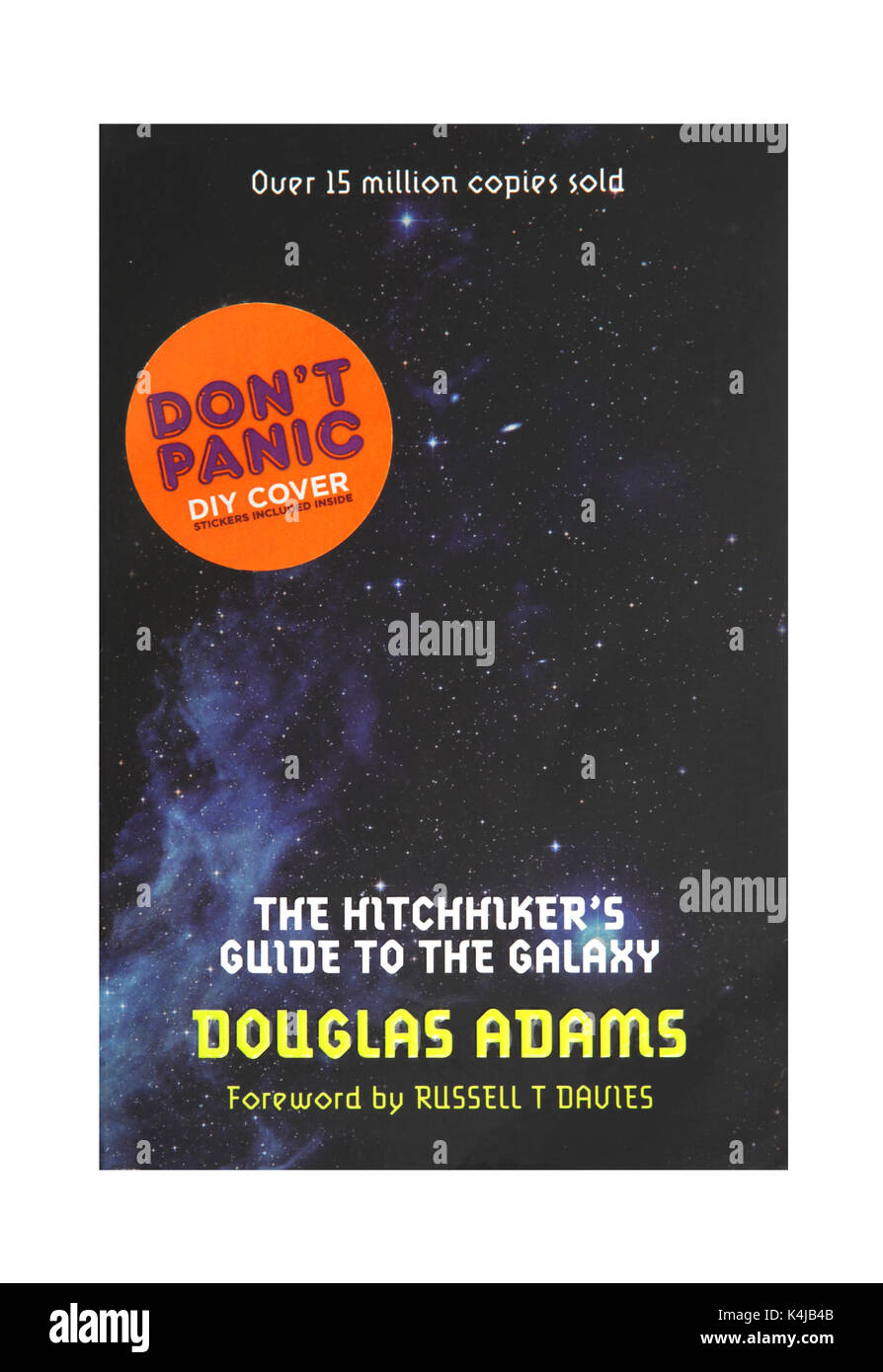The book The Hitchhikers Guide to the Galaxy by Douglas Adams. - Stock Image