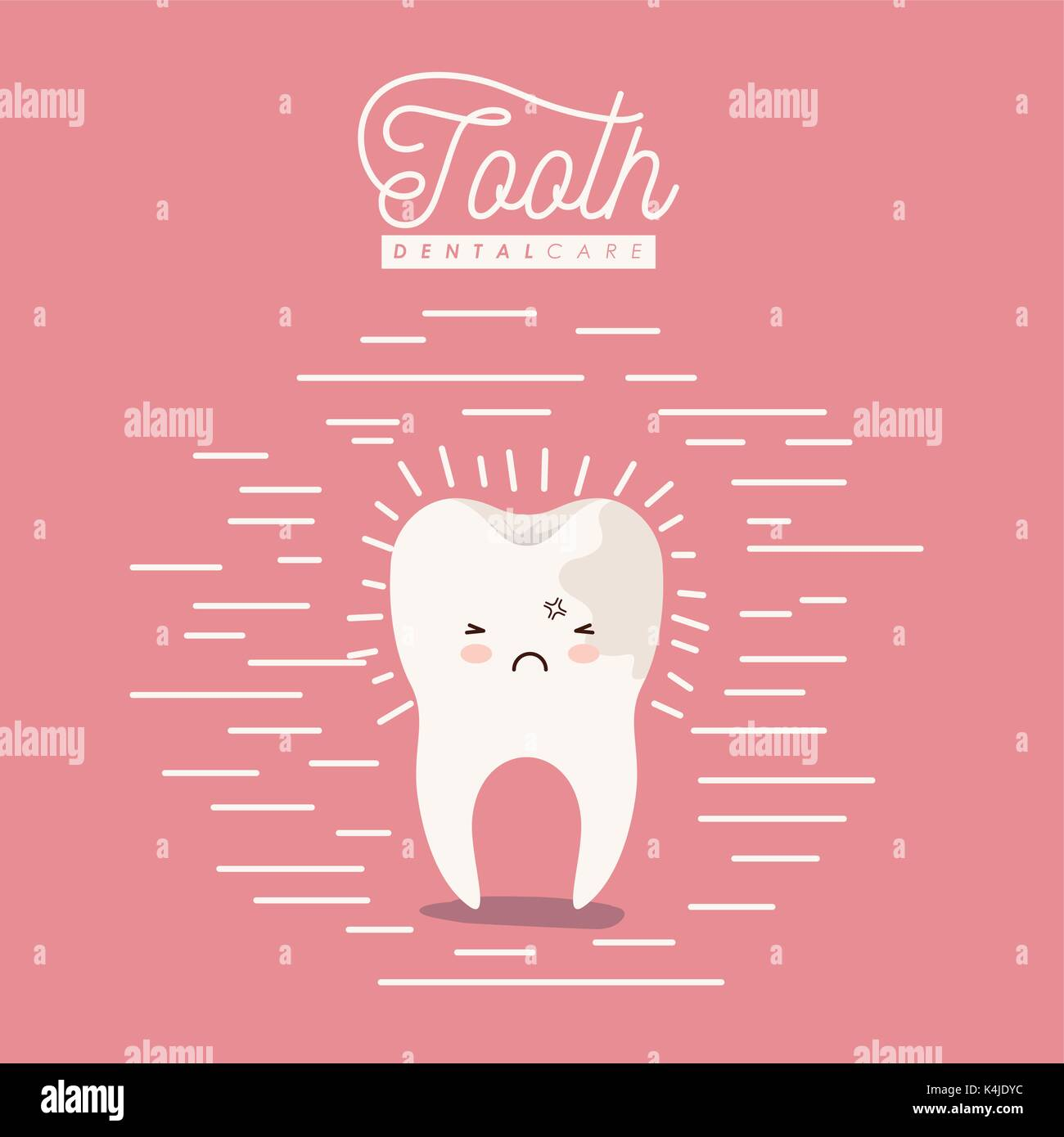 kawaii caricature caries on one side of the tooth dental care with pain expression on color poster with lines - Stock Image
