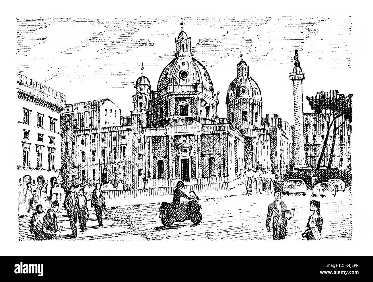 landscape in European town Rome in Italy . engraved hand drawn in old sketch and vintage style. historical architecture with buildings, perspective vi - Stock Image