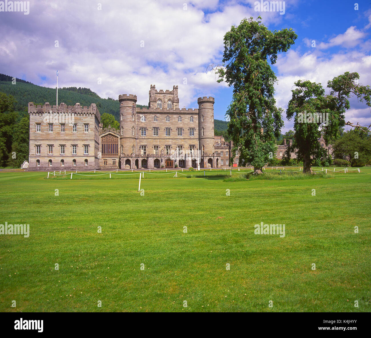 Summer view towards Taymouth Castle as seen from the Golf Links near Kenmore, Perthshire - Stock Image