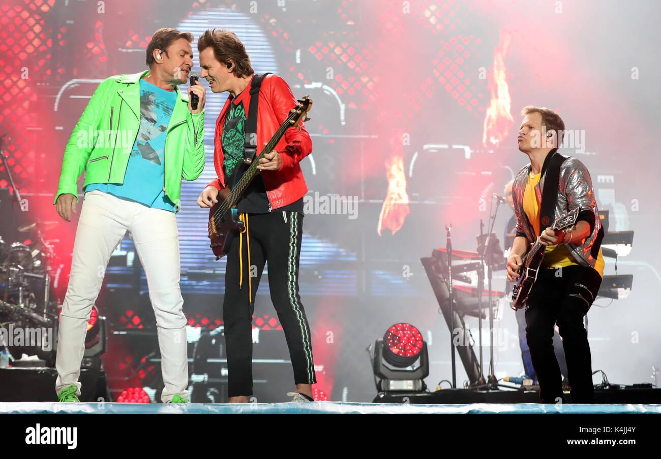 Simon Le Bon, John Taylor and Andy Taylor as Duran Duran headline