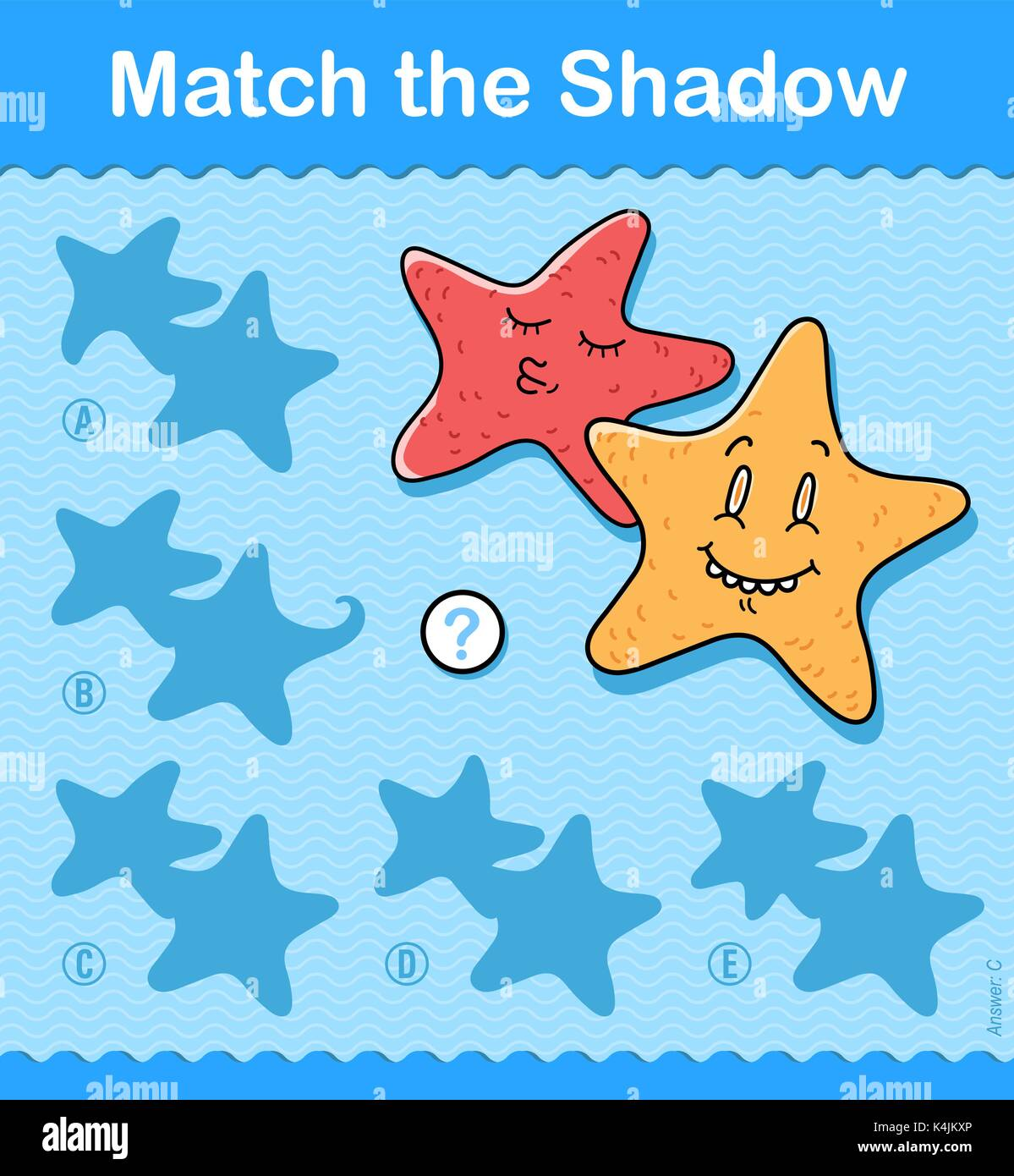 Match Shadow Puzzle Worksheet Kids Stock Photos & Match Shadow ...