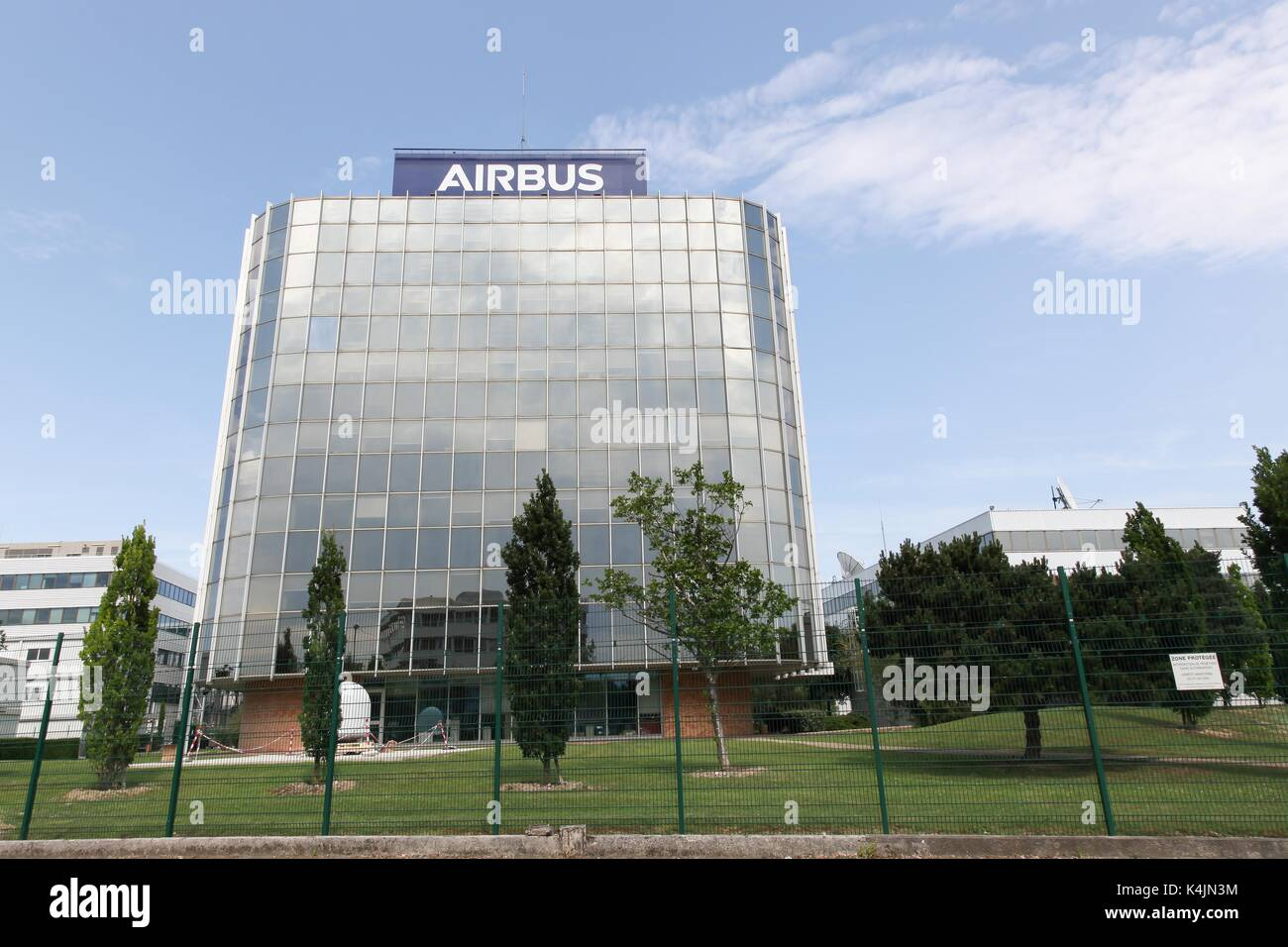 Toulouse,  France - June 2, 2017: Airbus building. Airbus is a division of the multinational Airbus SE that manufactures civil aircraft. - Stock Image
