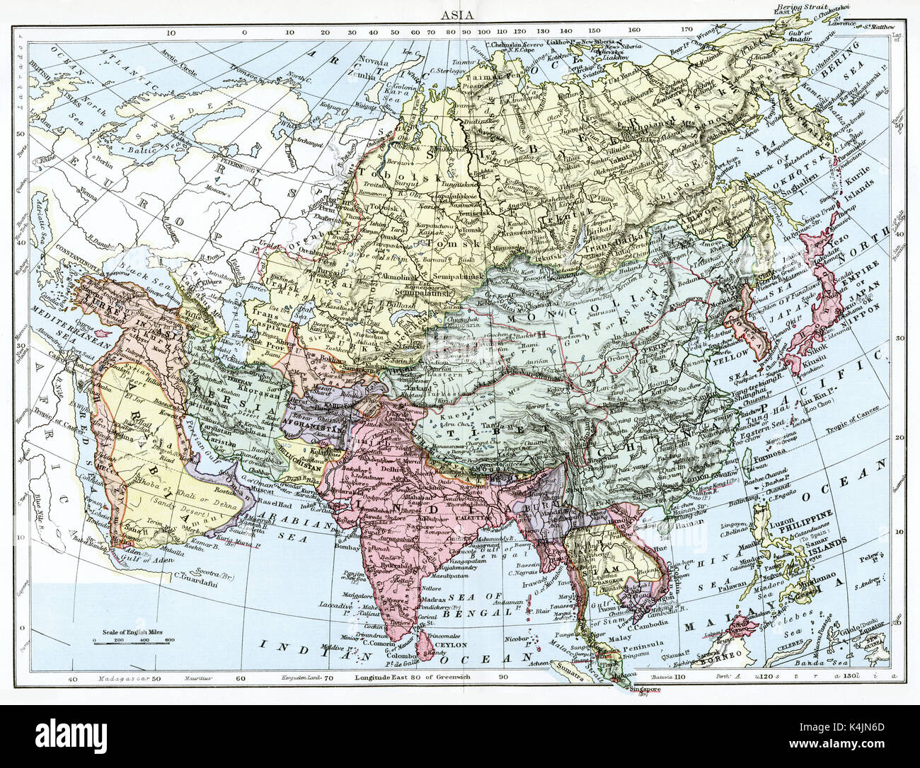 Antique map, circa 1875, of - Stock Image