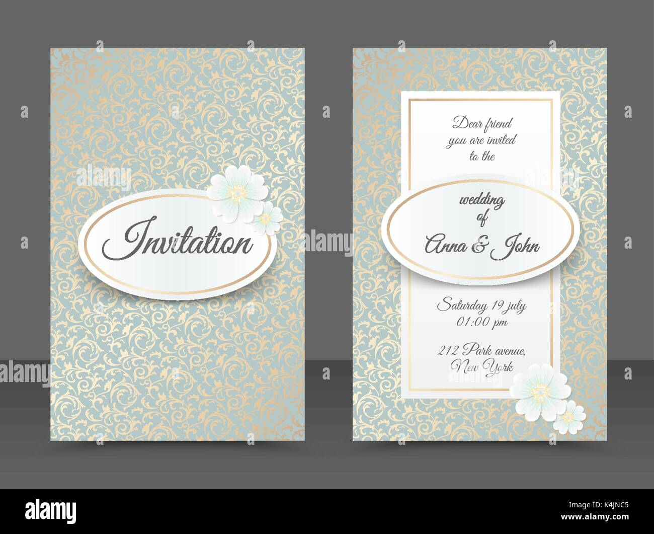 Vintage wedding invitation templates. Cover design with golden ...