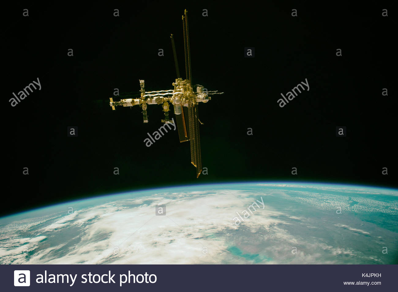 ISS or International Space Station. The spacecraft is a habitable artificial satellite, in low Earth orbit. Elements Stock Photo