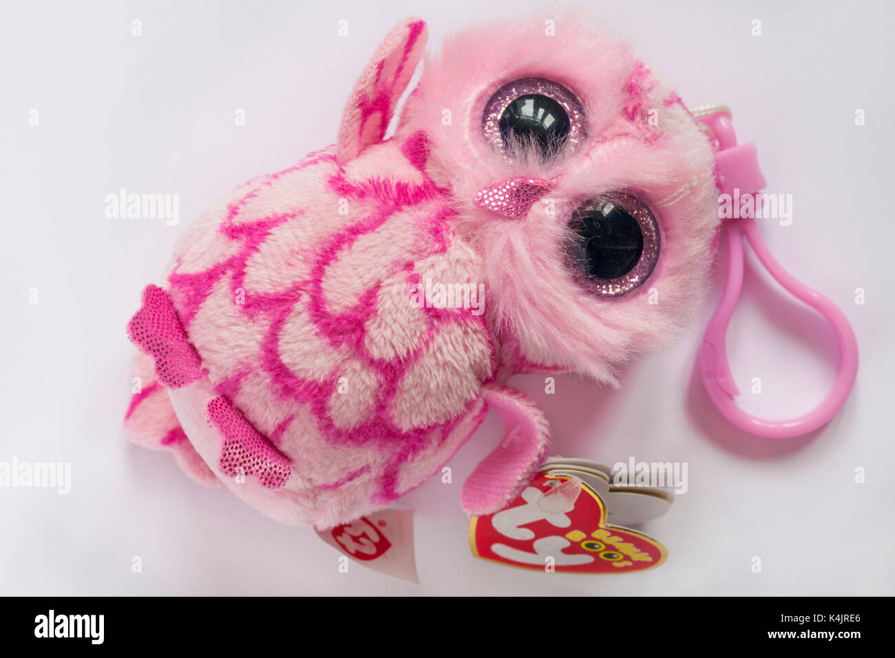 ty beanie boo's PINKY pink barn owl clip soft cuddly toy isolated on white background - Stock Image