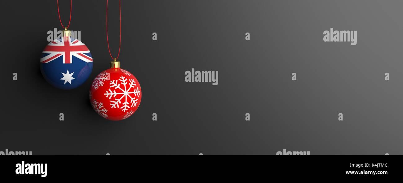 Christmas In Australia Background.Australia Flag On A Christmas Ball On Black Background 3d