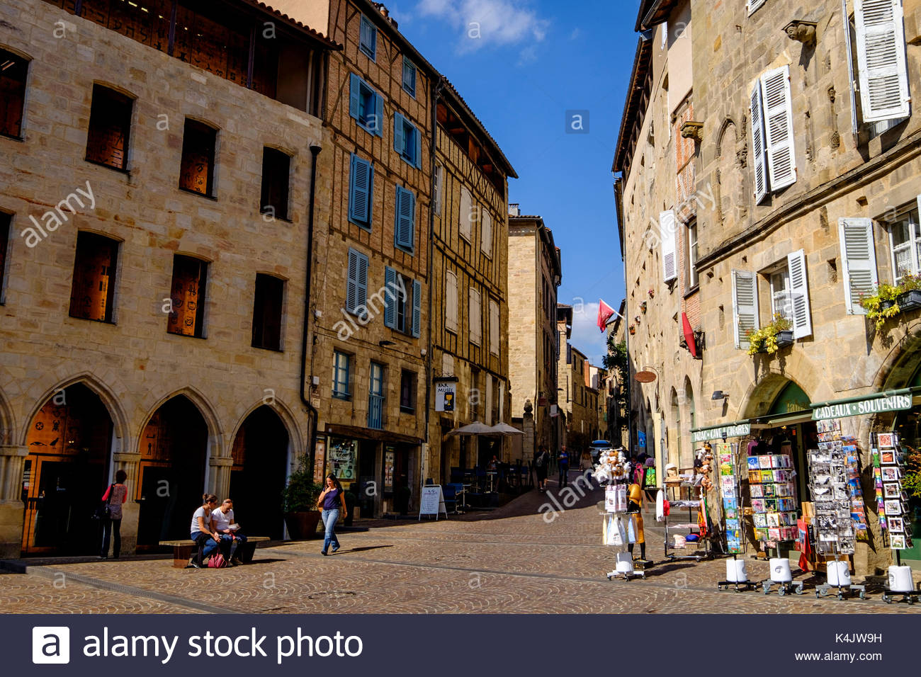 Champollion Square, Figeac, Lot, Quercy, France, Europe Stock Photo