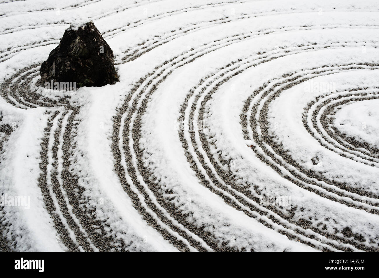 Snow-covered rock garden in Zuiho-in temple, Kyoto, Japan, Asia - Stock Image