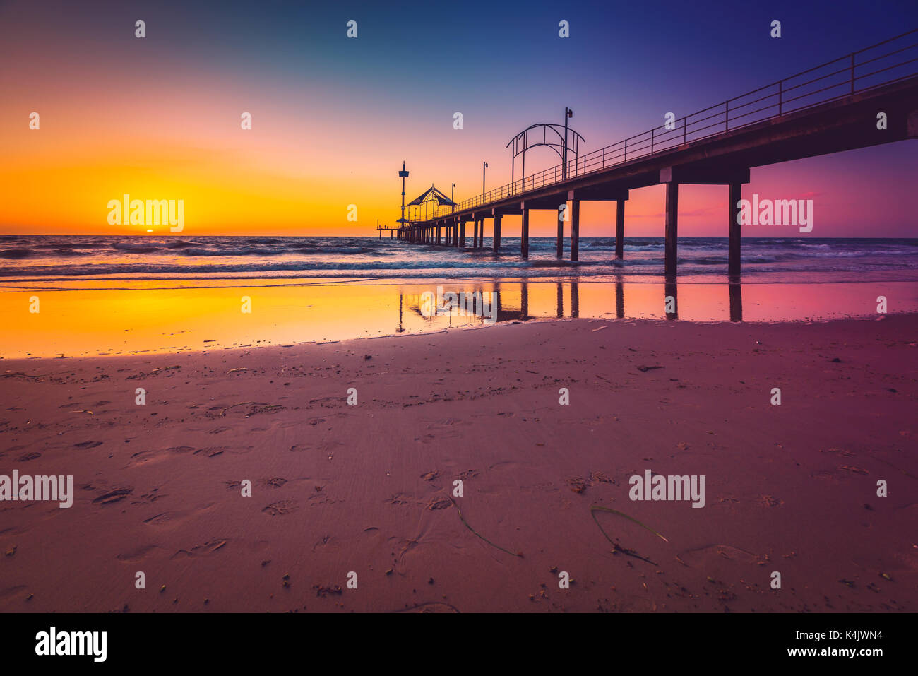 Brighton Beach jetty silhoutte at sunset, South Australia - Stock Image