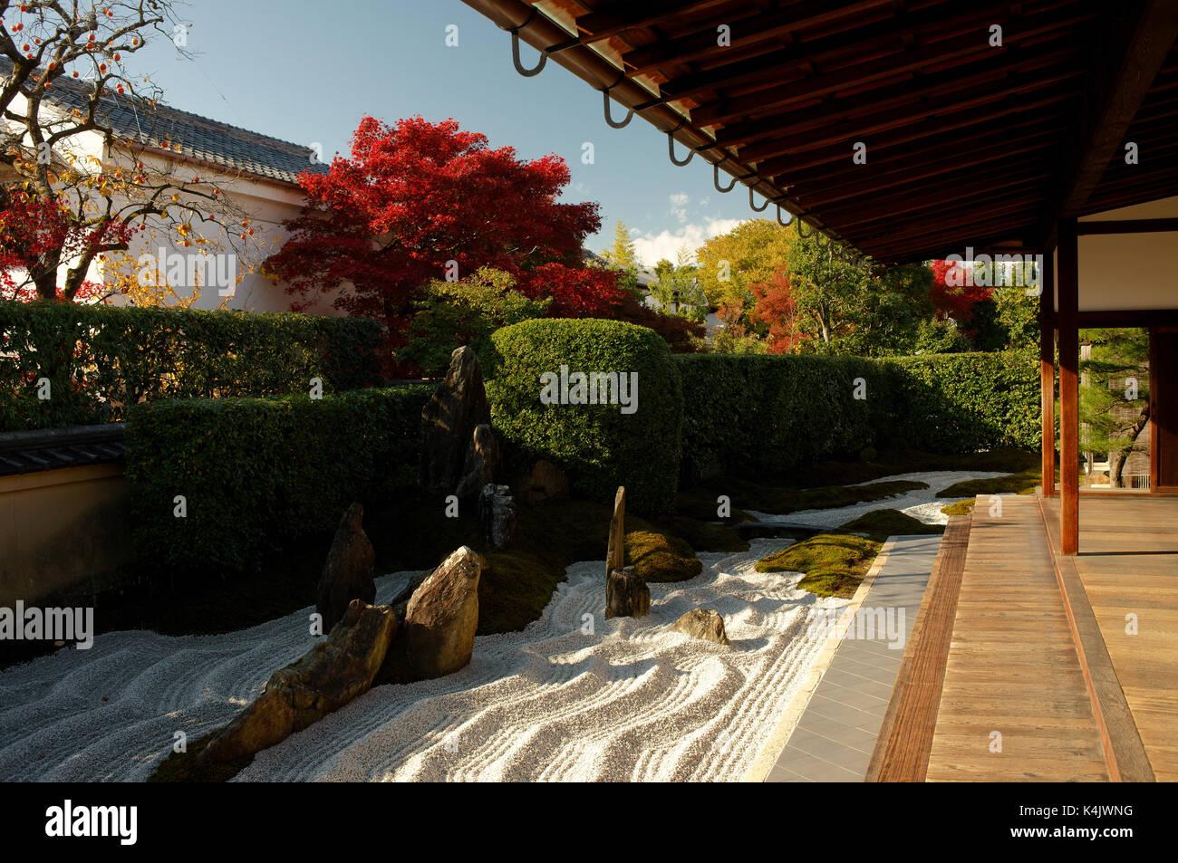 Zen garden in Zuiho-in temple, Kyoto, Japan, Asia - Stock Image