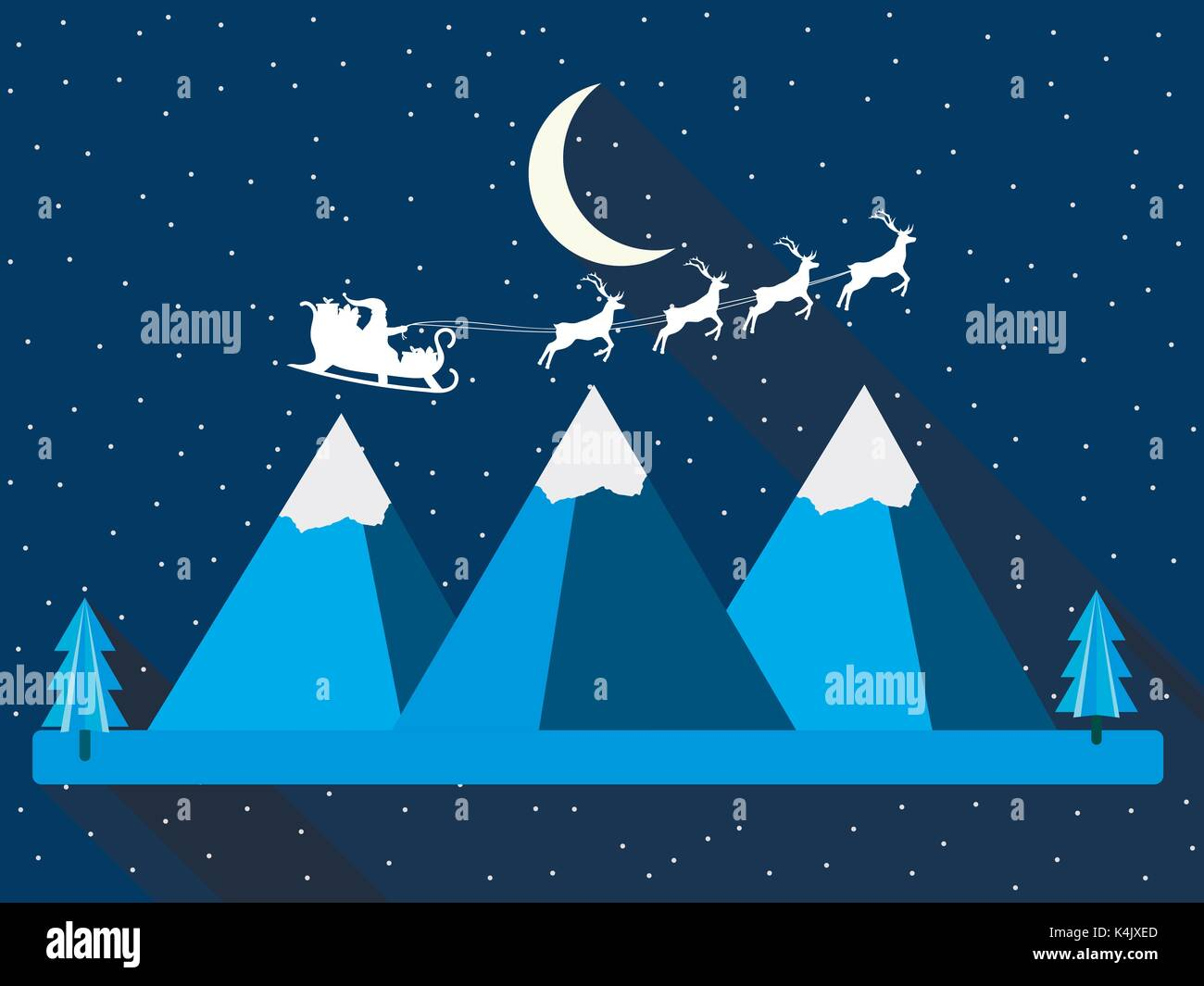 Christmas background. Santa Claus is flying in his sleigh. Mountains in a flat style with a long shadow. Vector illustration. - Stock Vector