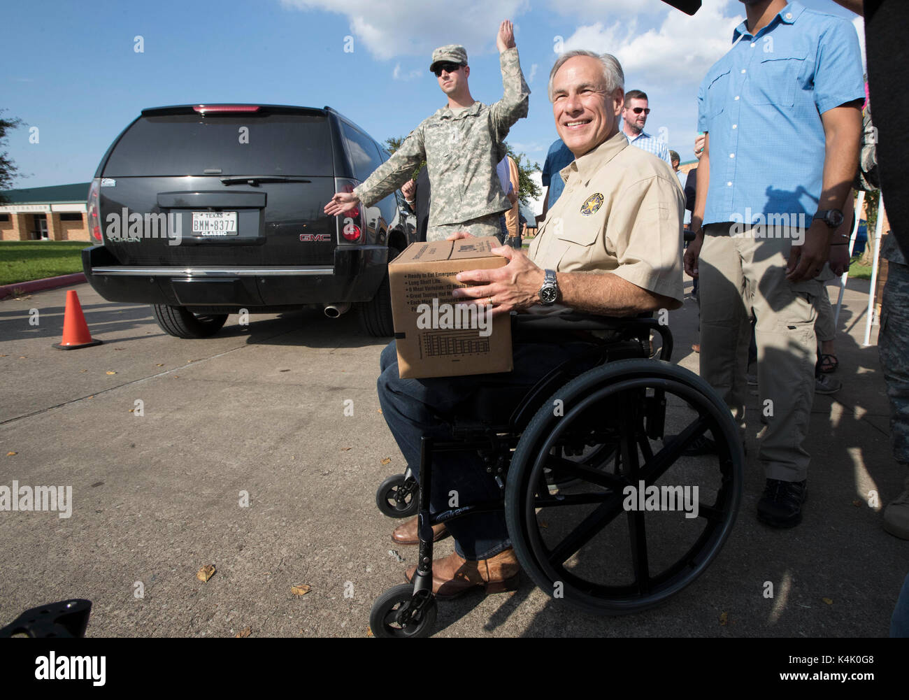 Beaumont, Texas USA Sept. 5, 2017: Texas Gov. Greg Abbott visits an aid distribution center for relief supplies as Southeast Texas continues to grapple with the destruction of Hurricane Harvey almost two weeks ago. Credit: Bob Daemmrich/Alamy Live News - Stock Image