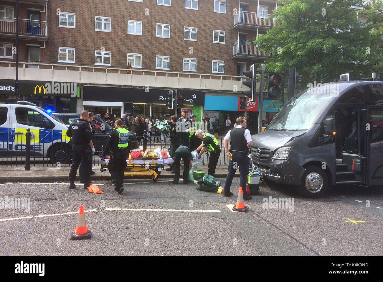 London, UK. 06th Sep, 2017. Accident on Swiss Cottage,Finchley Road near the pedestrian crossing opposite the Argos Stock Photo