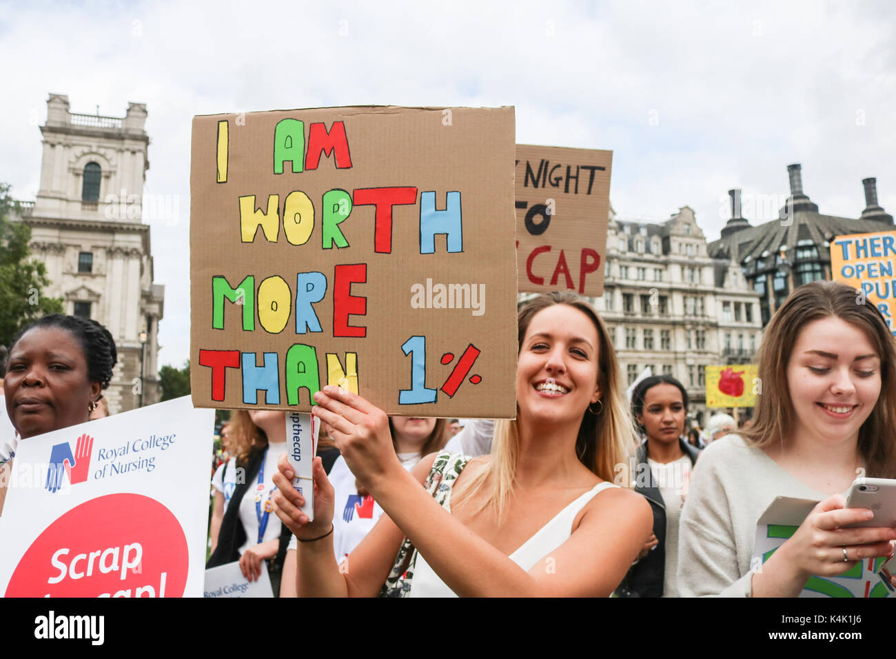 London, UK. 6th Sep, 2017. Hundreds of Members from  the (RCN) Royal College of Nursing staged a rally in Parliament Square to campaign against the 1 percent pay cap for nurses imposed by the government Credit: amer ghazzal/Alamy Live News - Stock Image