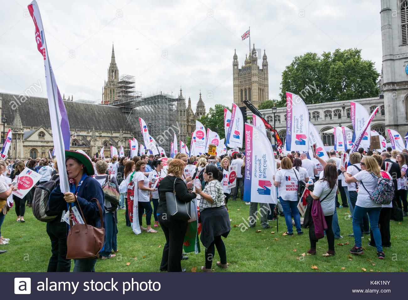 London, UK. , . Royal College of Nursing Smash the Cap demonstration in Parliament Square, London, England, UK. - Stock Image