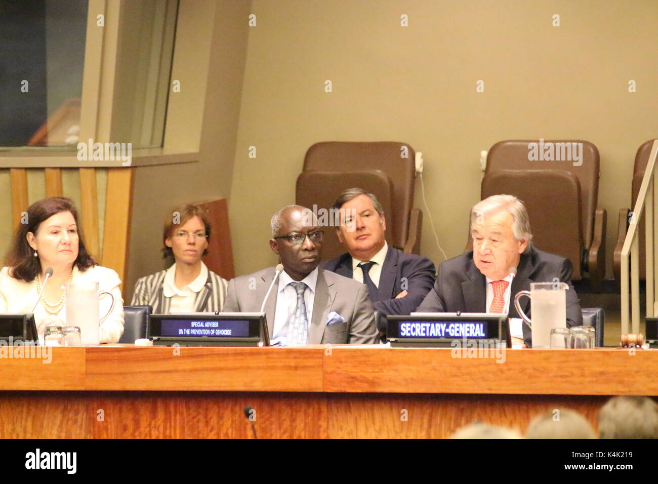 UN, New York, USA. 6th Sept, 2017. UN Sec-Gen Antonio Guterres spoke on Responsibility to Protect, day after his Stock Photo