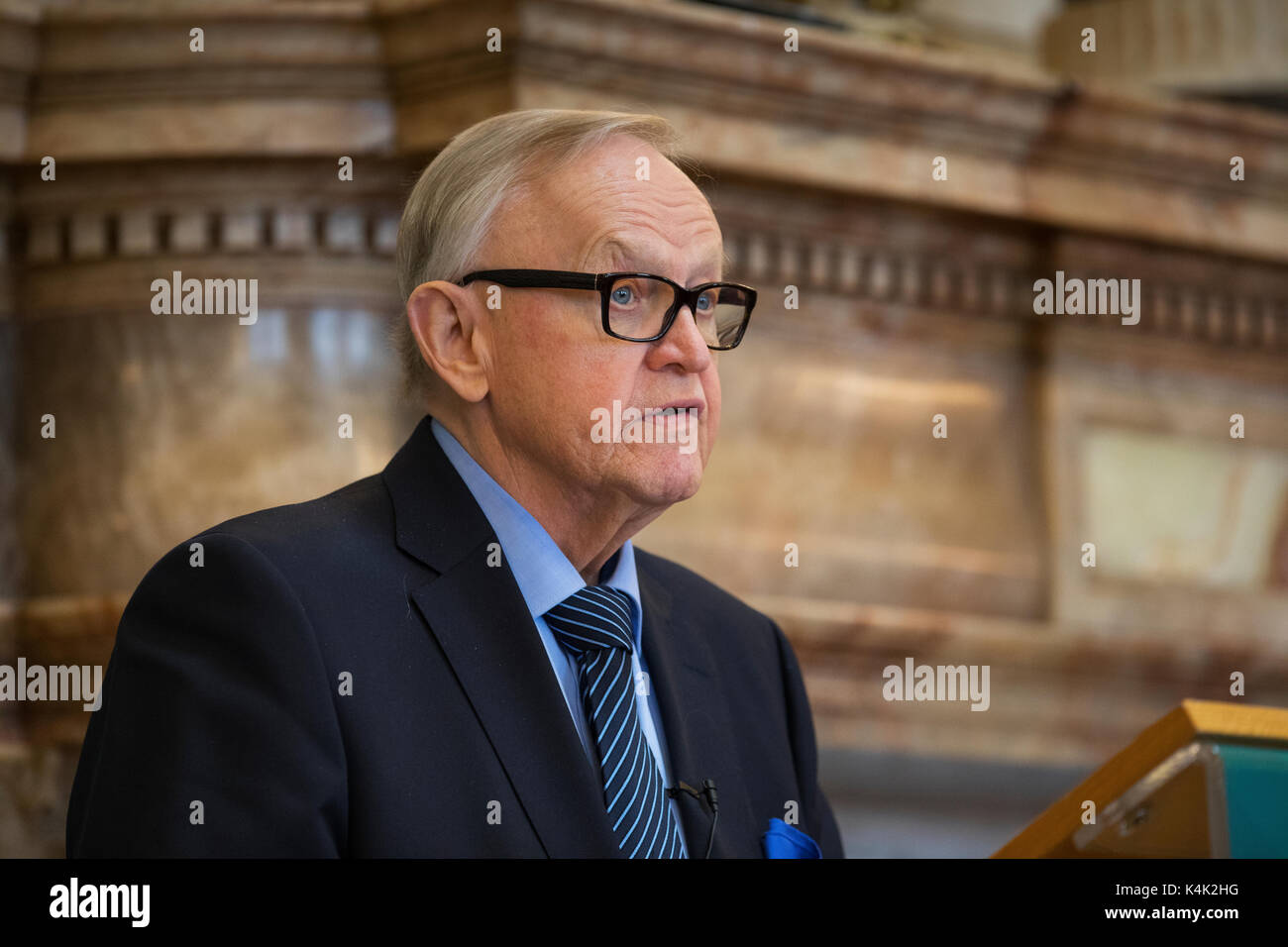 Dublin, Ireland. 6th Sep, 2017. Former President of Finland and Nobel Laureate, Mr. Martti Ahtisaari was in Ireland Stock Photo