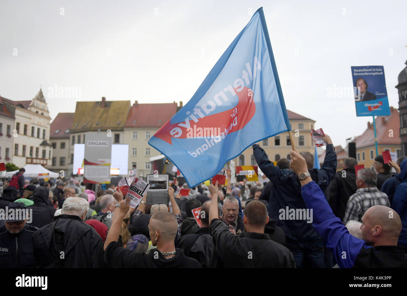 AfD(Alternative for Germany)supoorters protest at an CDUelection campaign in Torgau, Germany, - Stock Image