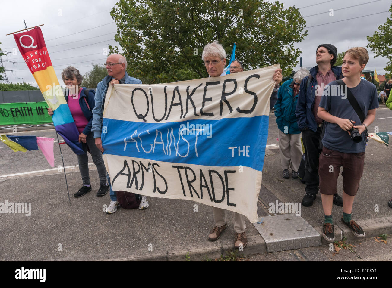 September 5, 2017 - London, UK - London, UK. 5th September 2017.  Quakers Against the Arms trade banner at the second Stock Photo