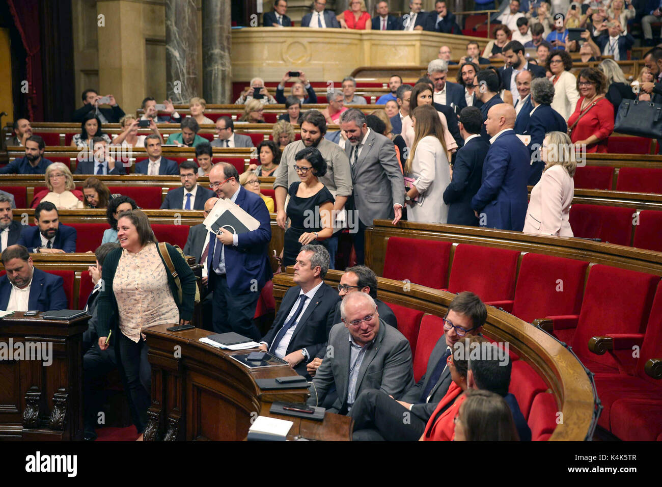 The deputies of Ciudadanos, PSC and PPC leave the Parliament to not vote the Referendum Law, in Barcelona, Catalonia, - Stock Image