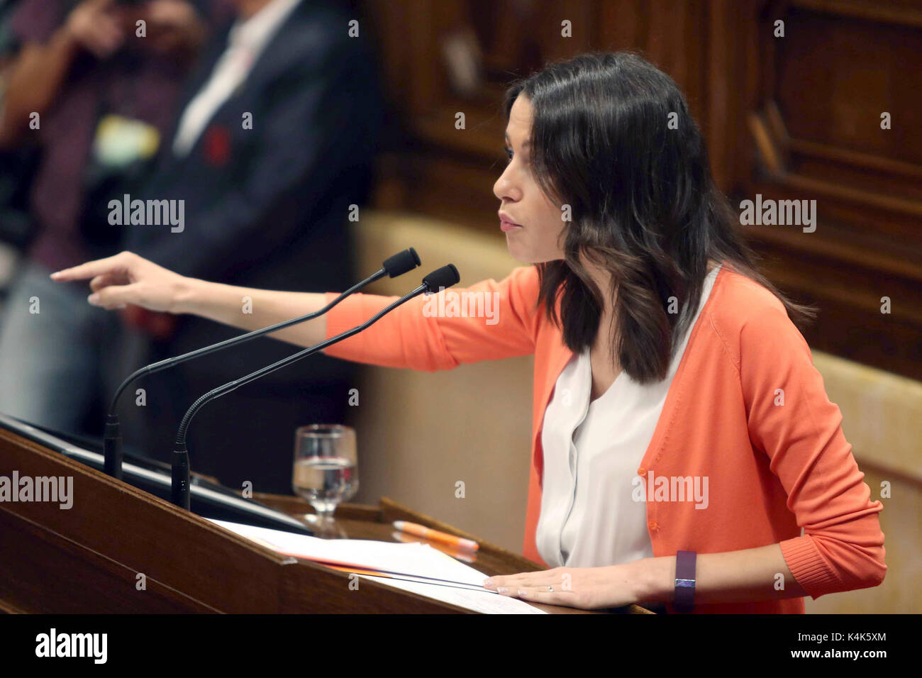 President of the parliamentary group 'Ciudadanos' Ines Arrimadas, defends the position of her party regarding - Stock Image