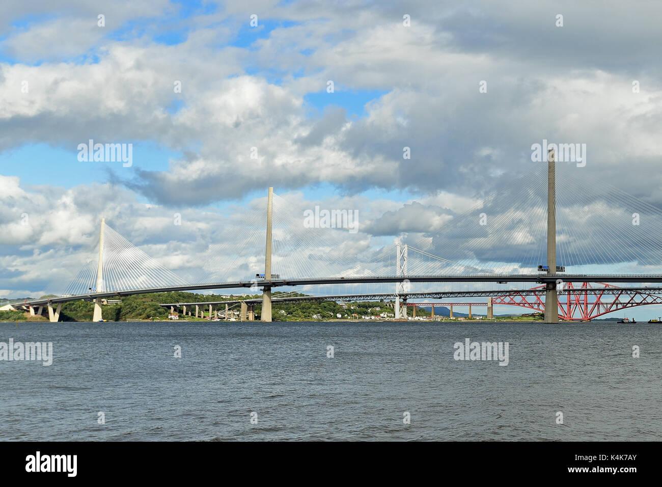 Edinburgh, Scotland, United Kingdom, 06, September, 2017. The new Queensferry Crossing road bridge over the Forth - Stock Image