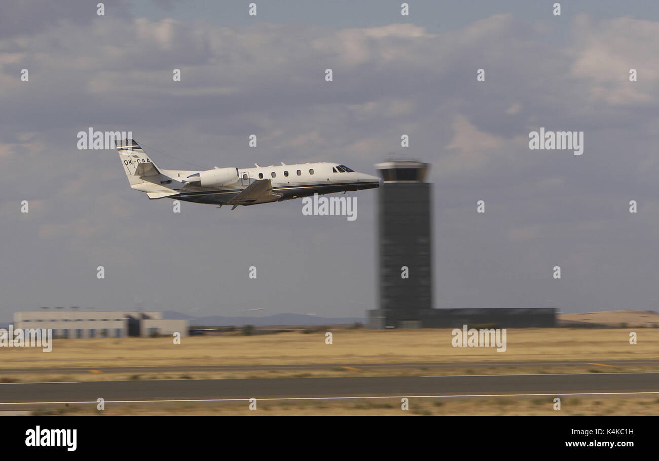 A calibration Cessna Citationtype airplane takes off from the airport of Ciudad Real, in Ciudad Real, Spain, on 07 September 2017. After five years of inactivity in the airport, the company inmersed in its purchase, Ciudad Real Internacional Airport (CRIA), has informed that the facilities' navigation systems calibration works have finished at the runways number 10 and 28, a prerequisite to get the permission of the State Air Security Agency AESA to start operations once the purchase of it is completed. Th airport, which counted with an investment of 450 million euros, was under meeting of cre - Stock Image