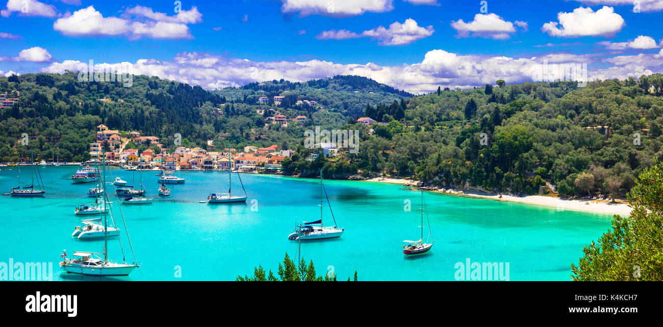 beautiful tranquil islands of Greece - Paxos (ionian islands). picturesque Lakka village and turquoise bay - Stock Image