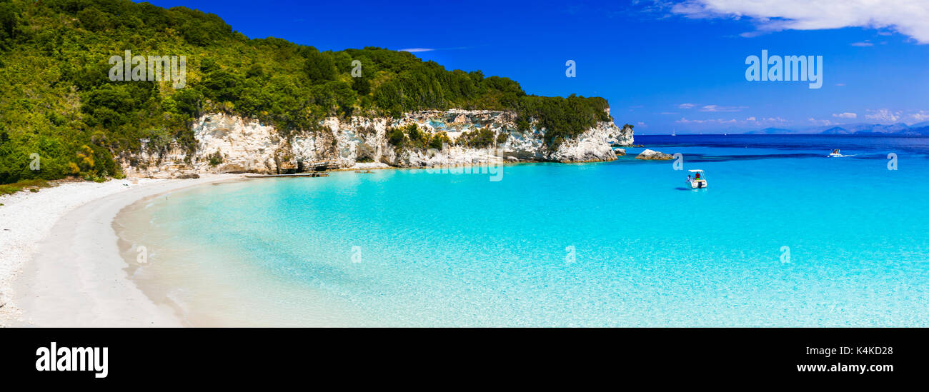 amazing turquoise white sandy beaches of Ionian islands - Antipaxos. Greece - Stock Image