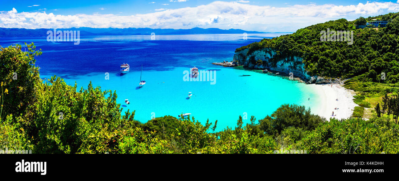 amazing turquoise white sandy beaches of Ionian islands - Antipaxos. Greece Stock Photo