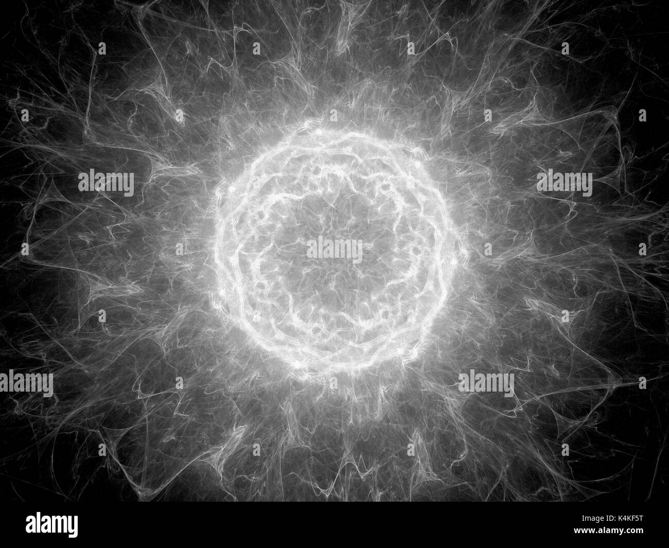 Glowing plasma torus in space, high voltage, black and white texture, computer generated abstract background, 3D rendering Stock Photo
