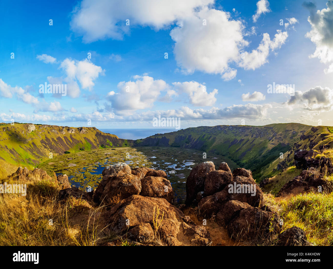 Crater of Rano Kau Volcano, Easter Island, Chile - Stock Image