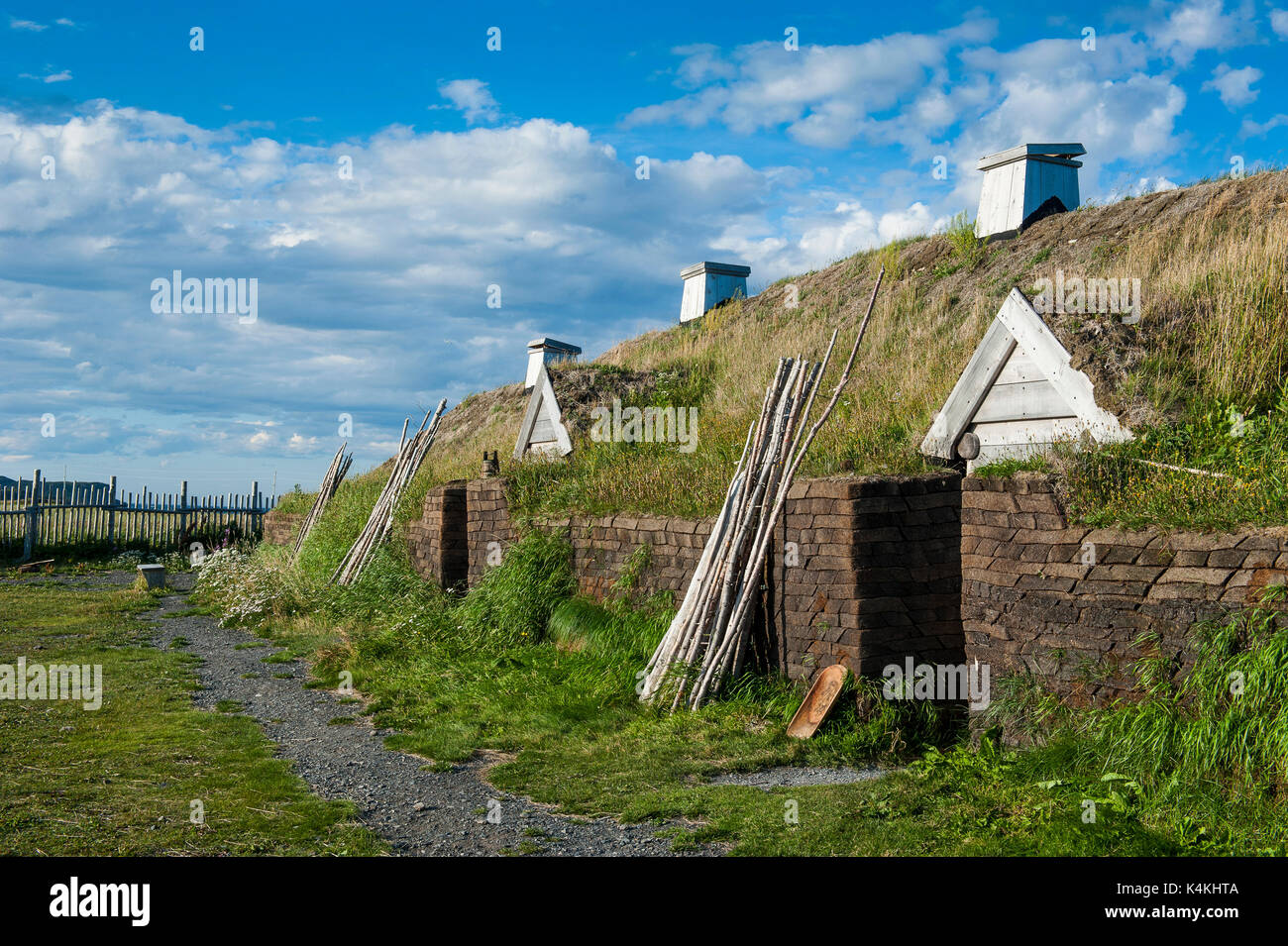 Norse settlement, Unesco world heritage, L´Anse aux Meadows, the only viking sight in America, Newfoundland, Canada - Stock Image