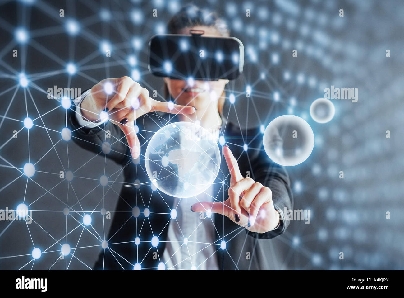 Virtual reality, 3D-technologies, cyberspace, science and people concept - happy woman in 3d glasses touching projection molecules. - Stock Image