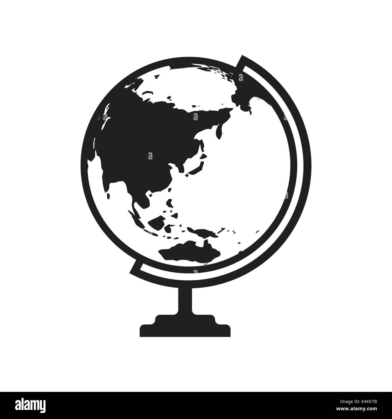 Globe icon vector with Asia and Australia map. Flat icon isolated on the white background. Vector illustration. - Stock Image