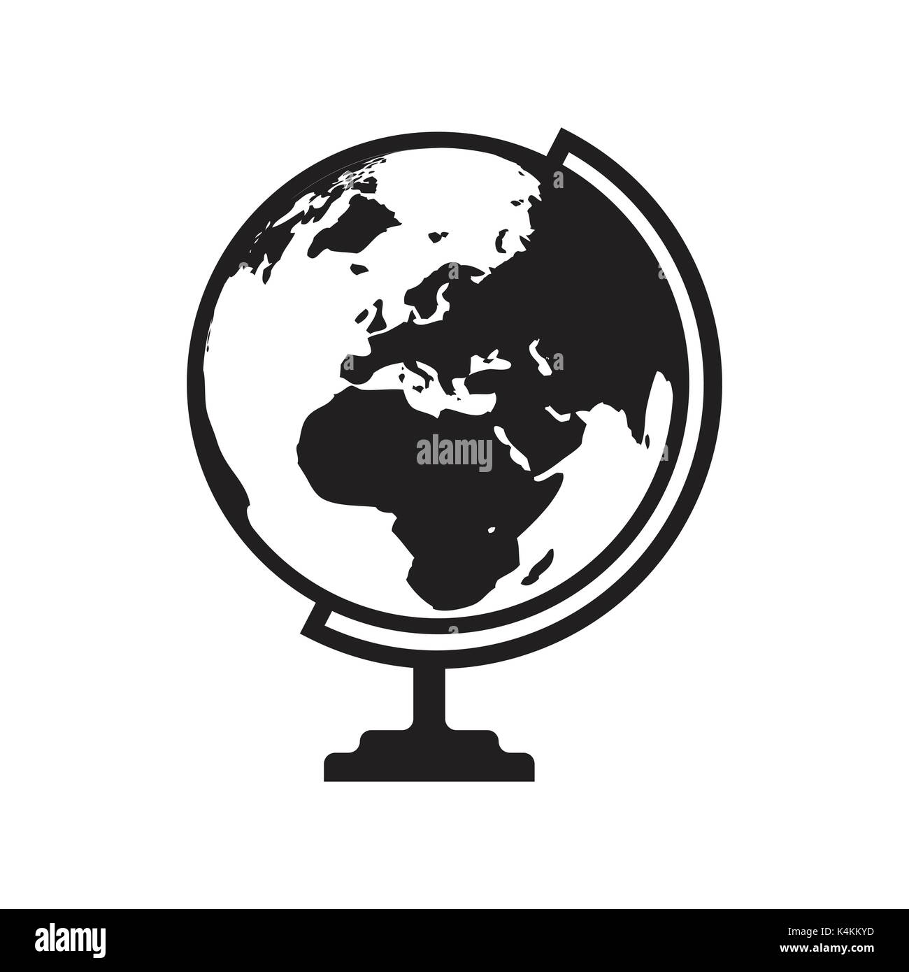 Globe icon vector with Asia Africa and Europe map. Flat icon isolated on the white background. Vector illustration. - Stock Image
