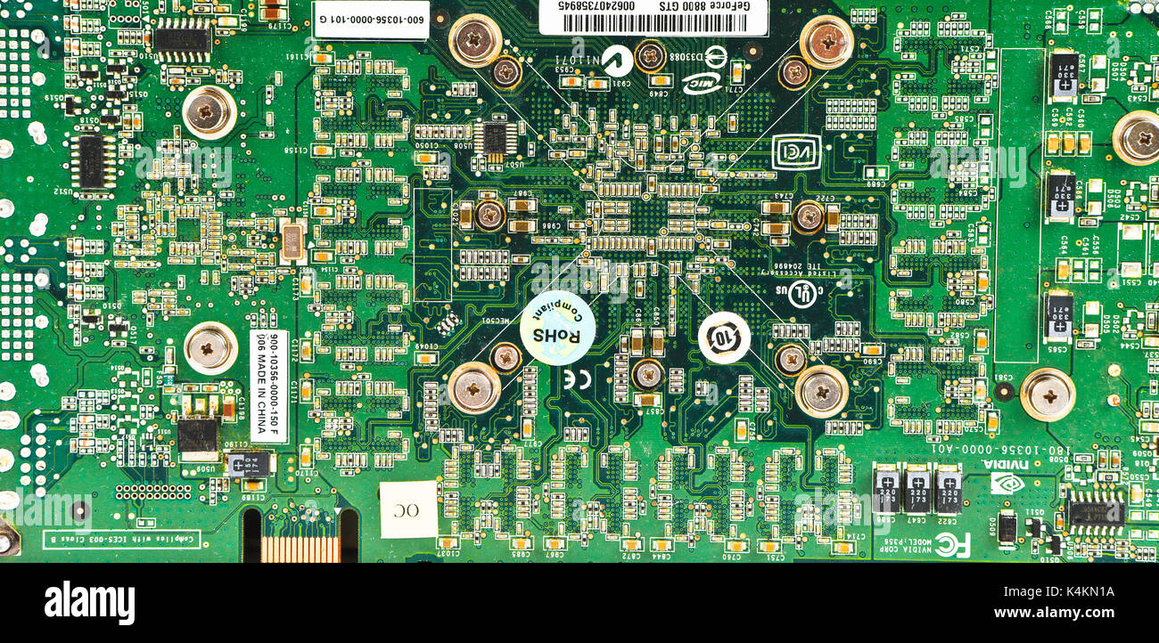 Technology Circuit Board Computer Components Stock Photo Green With Electronics And